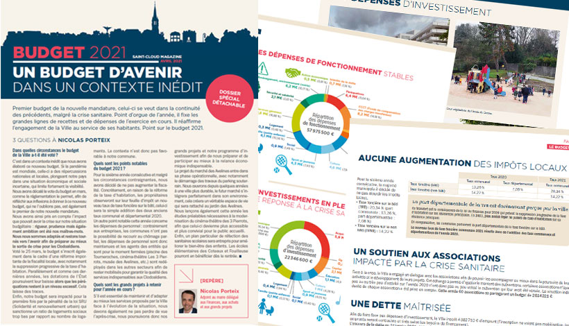 pages du dossier budget